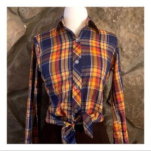 Women's Vintage Plaid Button Down Shirt